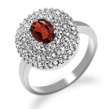 1.87 Ct Oval Natural Red Garnet 925 Sterling Silver Ring