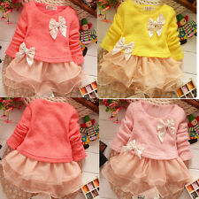 Baby Girls Clothes Kids Bowknot Long Sleeve Knitted Top Lace Princess Dress