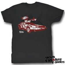 Back To The Future Delorean Open Door Distressed Licensed Adult Shirt S-2Xl