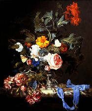VASE OF FLOWERS WITH POCKET WATCH STILL LIFE PAINTING BY WILLEM VAN AELST REPRO
