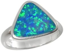 Sterling Silver Ring Blue Lab Created Opal Inlay 2641/OP