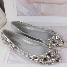 New Women's Rhinestone Ballet Flats Wedding Bridal Shoes Pointed Toe