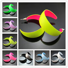 "Free Fashion 1.9"" Fluorescent colors Hiphop Punk Big Hoop Circle Earring 47mm"