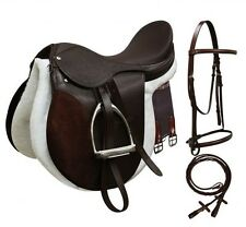 Horse Brown Black Leather English Bridle Reins Girth Saddle Irons Pad Package