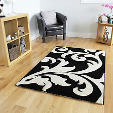 Small Large Black Floral Modern Rugs Quality Soft Easy Clean Floor Carpet Rugs