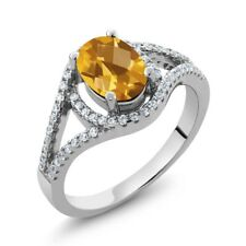 1.96 Ct Oval Checkerboard Yellow Citrine 925 Sterling Silver Ring