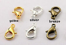 wholesale Metal LOBSTER CLAW CLASPS- Bronze Gold & SILVER PLATED 10mm,12mm &14mm