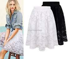 New Women Fashion Lace Pleated Tulle Princess Elegant Full Mid-calf Skirts