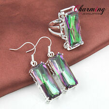 Xmas Jewelry Set Natural Rainbow Mystical Topaz Gemstone Silver Earrings & Ring