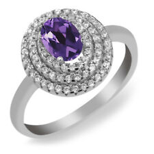 1.75 Ct Oval Purple Amethyst 925 Sterling Silver Ring