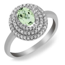 2.00 Ct Oval Green Amethyst 925 Sterling Silver Ring