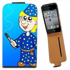 Blonde Hair Magician Holding Wand Making Magic Leather Flip Case for iPhone 4 4S