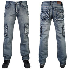 MENS DENIM CARGO LIGHT VINTAGE STRAIGHT LEG COMBAT JEANS ALL WAIST AND LEG SIZES