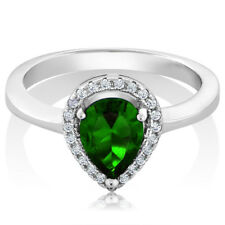 2.54 Ct Pear Shape Green Simulated Emerald 925 Sterling Silver Ring