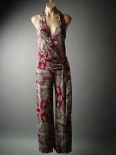 Elegant Tapestry Pattern Halter Wrap Dress Pants Playsuit 81 mv Jumpsuit S M L