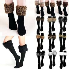 Ladies Womens Boot Faux Fur Socks Stocking Soft Fluffy Furry Cuff Leg Warmers