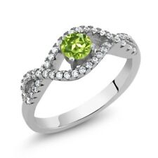 0.99 Ct Round Green Peridot 925 Sterling Silver Ring