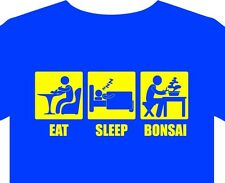 Mens T-Shirt eat sleep bonsai wire clippers scissors tray plant feed book gift
