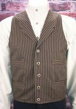 FRONTIER CLASSICS BROWN / NAVY STRIPE OUTLAW VEST COWBOY SASS