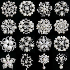 NEW FAUX PEARL CRYSTAL RHINESTONE BOUQUET SILVER FLOWER BROOCH PINS JEWELRY GIFT
