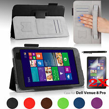 NEW For Dell Venue 8 Pro Folio Stand Case Cover w/ Hand Strap and Accessories
