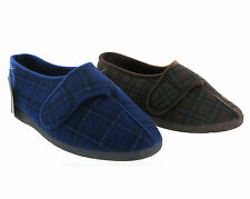New Men Extra Wide Fitting Slippers Machine Washable Velcro Shoes Size 7-13