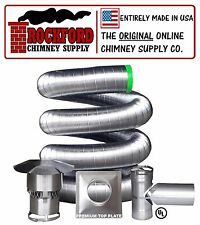 "4"" x 25' Rock-Flex Flexible Chimney Liner Tee Kit (.006 316Ti Stainless Steel)"