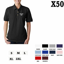 CUSTOM PERSONALIZED EMBROIDERED Black Cotton Women Polo Shirt Top Set of 50