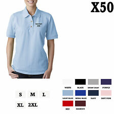 CUSTOM PERSONALIZED EMBROIDERED Light Blue Cotton Women Polo Shirt Top Set of 5