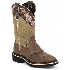 L9951 Justin Gypsy Ladies Barnwood Brown Cowboy Boot w/ Embroidered Collar NEW