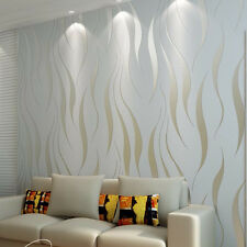 10m Bedroom Natural Non-woven Roll 3D Embossed Flocking Waves Textured Wallpaper