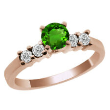 0.76 Ct Round Green Chrome Diopside White Diamond 14K Rose Gold Engagement Ring