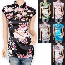Stunning Satin Floral Prints Mandarin Collar Cap Sleeves Top Blouse