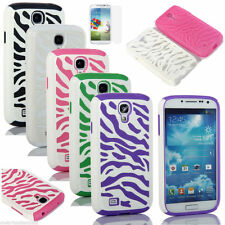 Zebra Hybrid Rugged Impact Combo Cover Case For Samsung Galaxy S4 SIV i9500&Film
