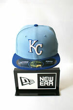 New Era 59FIFTY Kansas City Royals Sky & Navy Blue Hat Fitted Caps Free Gift Box
