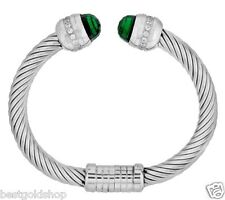 QVC Steel by Design Twisted Wire Bangle Bracelet with Crystal Endcaps J273960