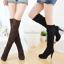 Women's Shoes Over the Knee Thigh Stretchy High Heels Boots Four Size Faux Suede