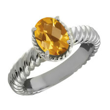 1.60 Ct Oval Checkerboard Yellow Citrine 925 Sterling Silver Ring