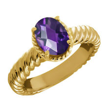 1.60 Ct Oval Checkerboard Purple Amethyst 925 Yellow Gold Plated Silver Ring
