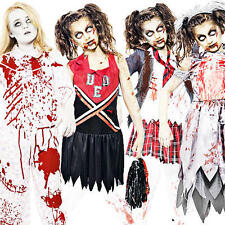 Zombie Girls + Blood Halloween Fancy Dress Party Horror Kids Childrens Costumes