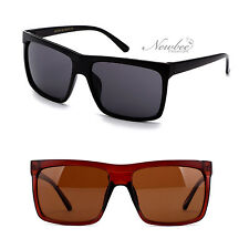 Super Bold Thick Square Lens Sunglasses Straight Flat Top Sporty Men Women