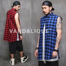 XQUARE23 Extended Plaid Side Zip Sleeveless shirt Kanye A$AP FABRIXQUARE s166 #3