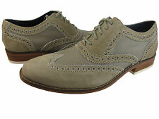 Cole Haan Mens Air Colton Khaki White Wing-Tip Casual Oxfords Dress Shoes