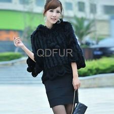 New Knitted Real Rabbit Fur Shawl Fashion Poncho Women Warm Outdoor Vest