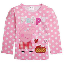 Lovely Cute Baby Girls Peppa Pig Top T Shirt Polkt Dot Embroidered Pink Kid 1-5Y
