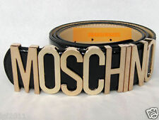 New Authentic Moschino Lackleder-Gürtel mit Goldbuchstaben 80sVG