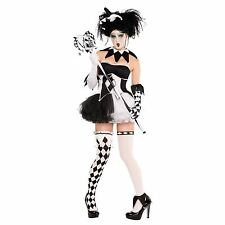 Harlequin Jester Ladies Kings Delight Black White Halloween Fancy Dress Costume