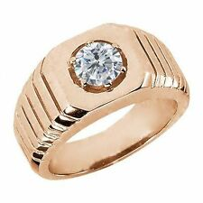 0.50 Ct G/H SI2/I1 Diamond 925 Rose Gold Plated Silver Men's Solitaire Ring