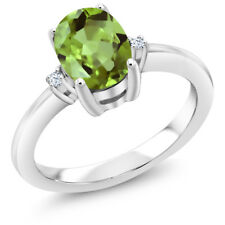 1.36 Ct Oval Green Peridot 925 Sterling Silver Ring