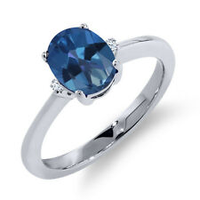 1.62 Ct Oval Royal Blue Mystic Topaz White Sapphire 14K White Gold Ring